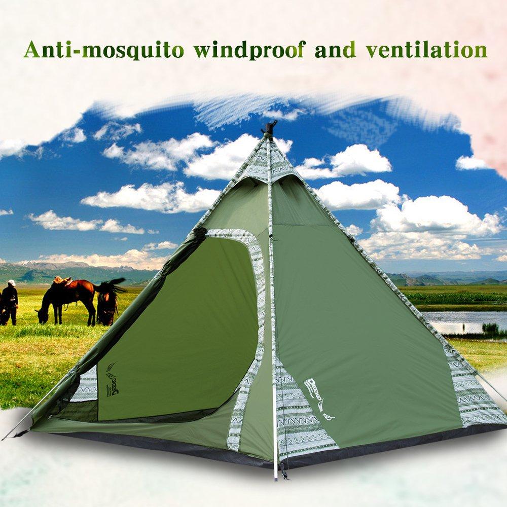 amazon com deeko 2 3 person teepee tents waterproof lightweight