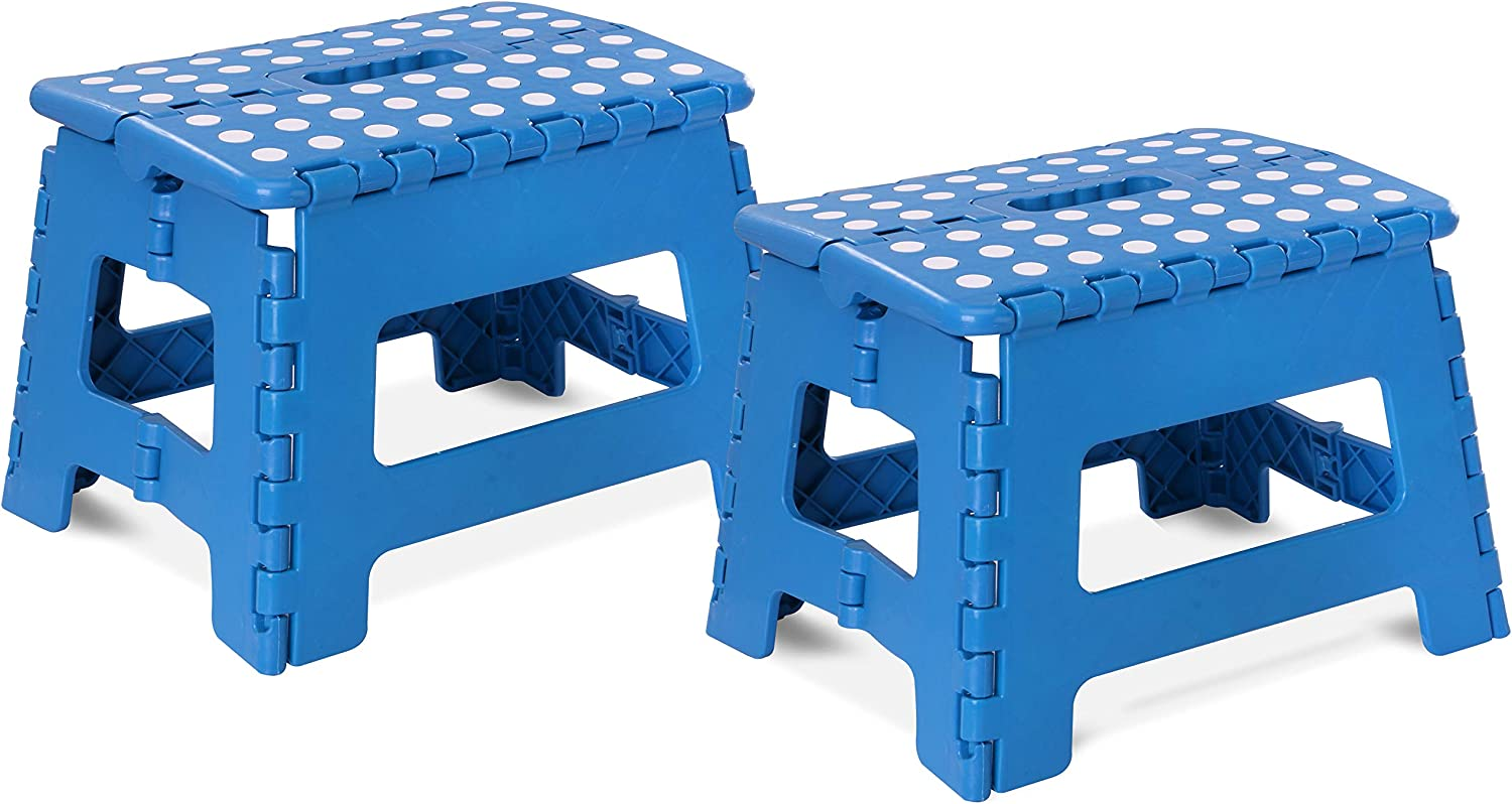 Utopia Home Foldable Step Stool for Kids - 11 Inches Wide and 8 Inches Tall - Holds Up to 300 lbs - Lightweight Plastic Design (Blue, Pack of 2)