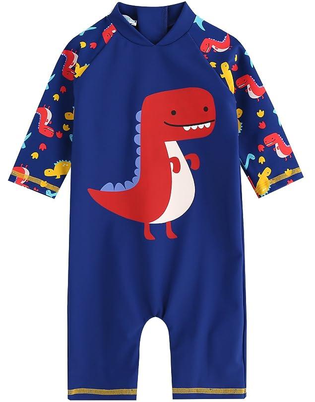 原稿鋼娯楽[Bonverano] ラッシュガード 水着 男の子 長袖 UPF50+ UVカット 0~3歳 ワンピース キャップ付き (ブル— 12-18M)