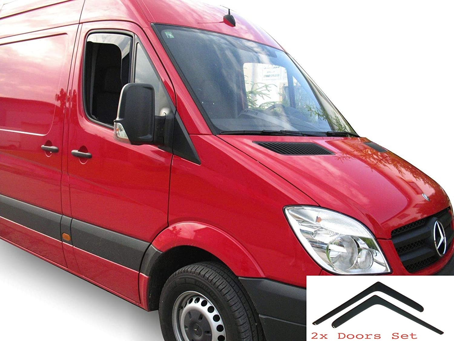 OEMM Set of 2 Wind Deflectors IN-CHANNEL Type Compatible with MERCEDES BENZ SPRINTER W906 /& VOLKSWAGEN CRAFTER VW 2006 to 2018 Acrylic Glass Side Visors Window Deflectors