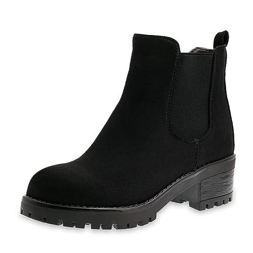 wie man kauft elegant und anmutig klassische Schuhe Marimo Damen Stiefeletten Chelsea Ankle Boots Wildlederoptik Blockabsatz  Profilsohle Plateau