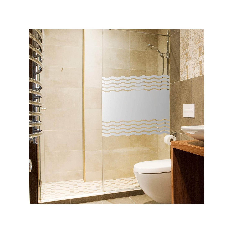 Film autocollant brise-vue pour cabine de douche vagues dépoli occultant pour fenêtre de salle de bain, Film plastique spécial, 60 x 50 cm