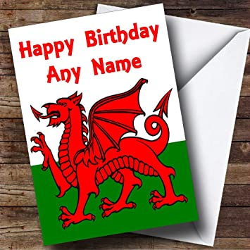 Welsh flag wales personalised birthday greetings card amazon welsh flag wales personalised birthday greetings card m4hsunfo