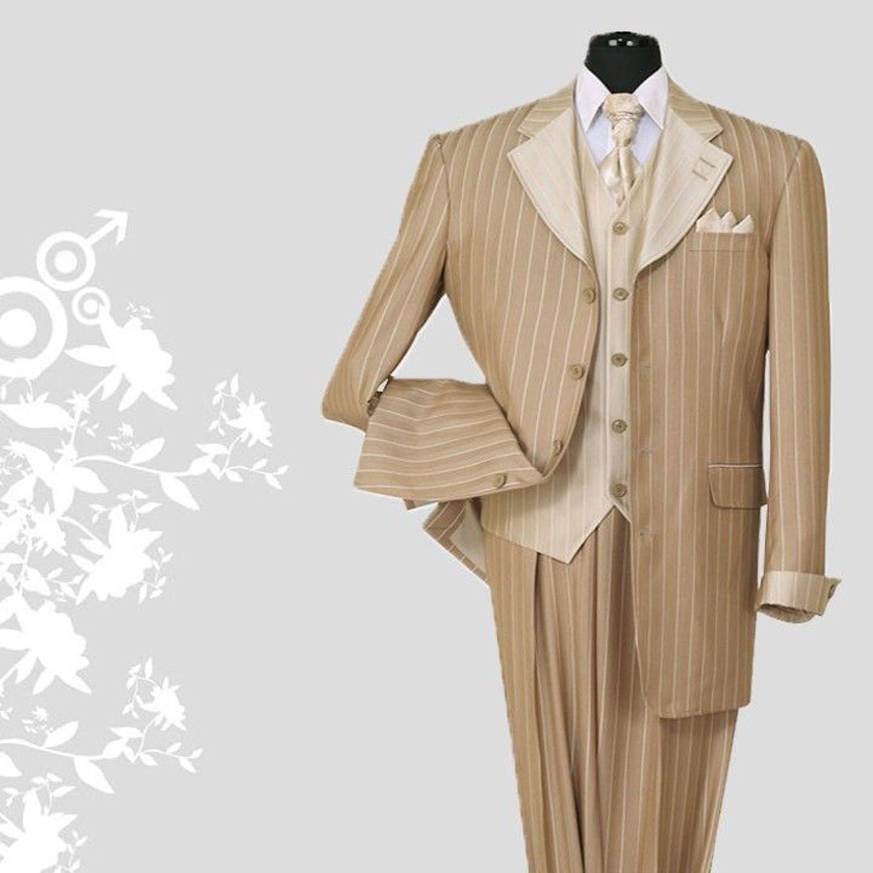 Milano Moda Pinestripe Fashion Suit with Contrast Collar, Cuffs & Vest 2911-Tan-50L