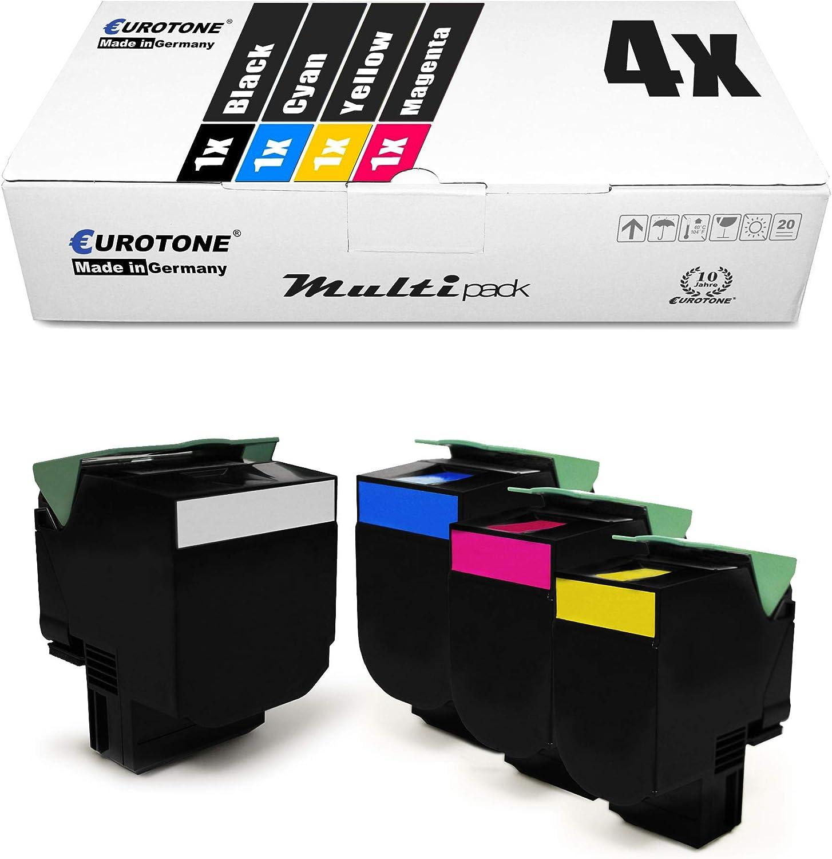 4x Eurotone Xxl Toner Für Lexmark Cx 310 410 510 Dhe De Dthe Dte E Dn N Ersetzt 80c2sk0 802s Bürobedarf Schreibwaren