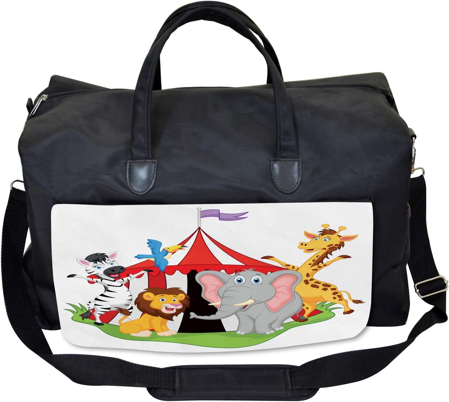 Large Weekender Carry-on Ambesonne Animal Gym Bag Circus Tent Giraffe Mime