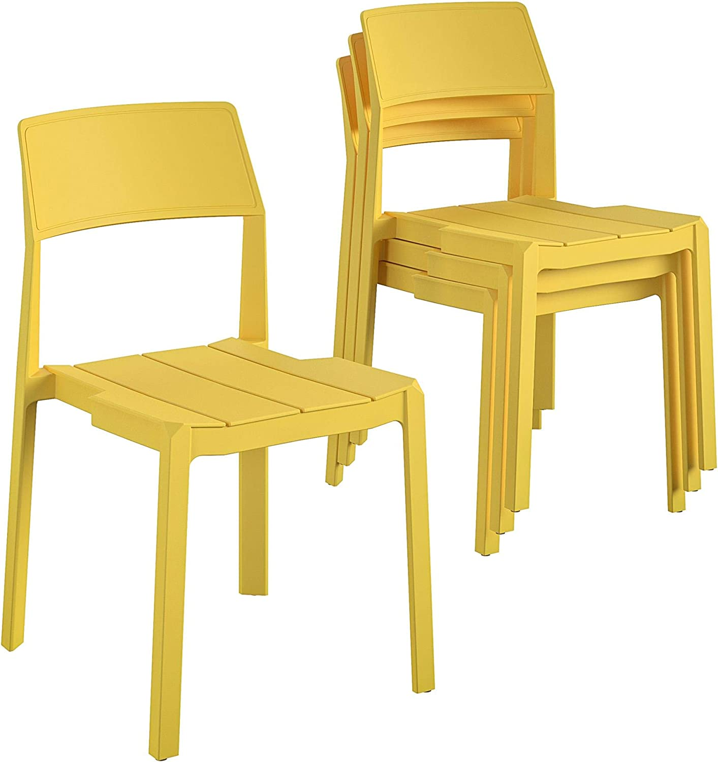 Novogratz Poolside Collection, Chandler Stacking, 4-Pack, Bright Yellow Dining Chairs