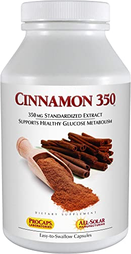 Andrew Lessman Cinnamon 350-60 Capsules High Potency, Standardized Extract. Supports Healthy Blood Sugar Balance and Glucose Metabolism. No Additives. Small Easy to Swallow Capsules
