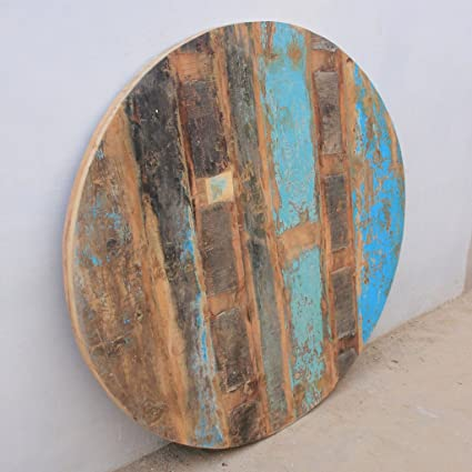 Antique Rustic Reclaimed Wood Round Table Top 48u0026quot;x 48u0026quot ...