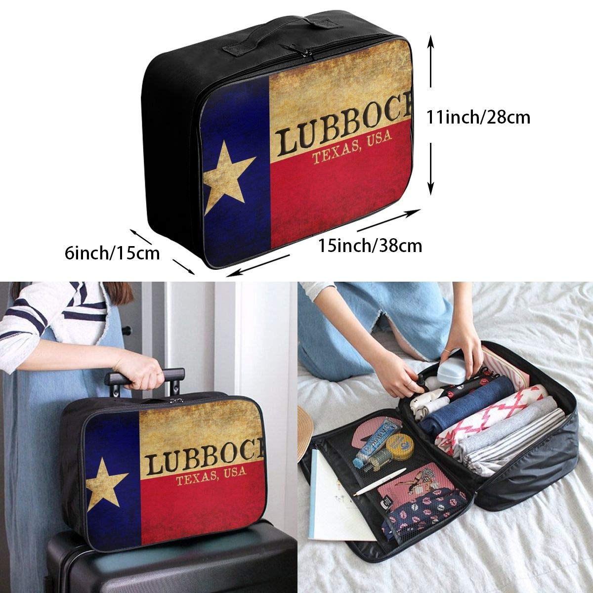 YueLJB Texas State Lubbock Lightweight Large Capacity Portable Luggage Bag Travel Duffel Bag Storage Carry Luggage Duffle Tote Bag