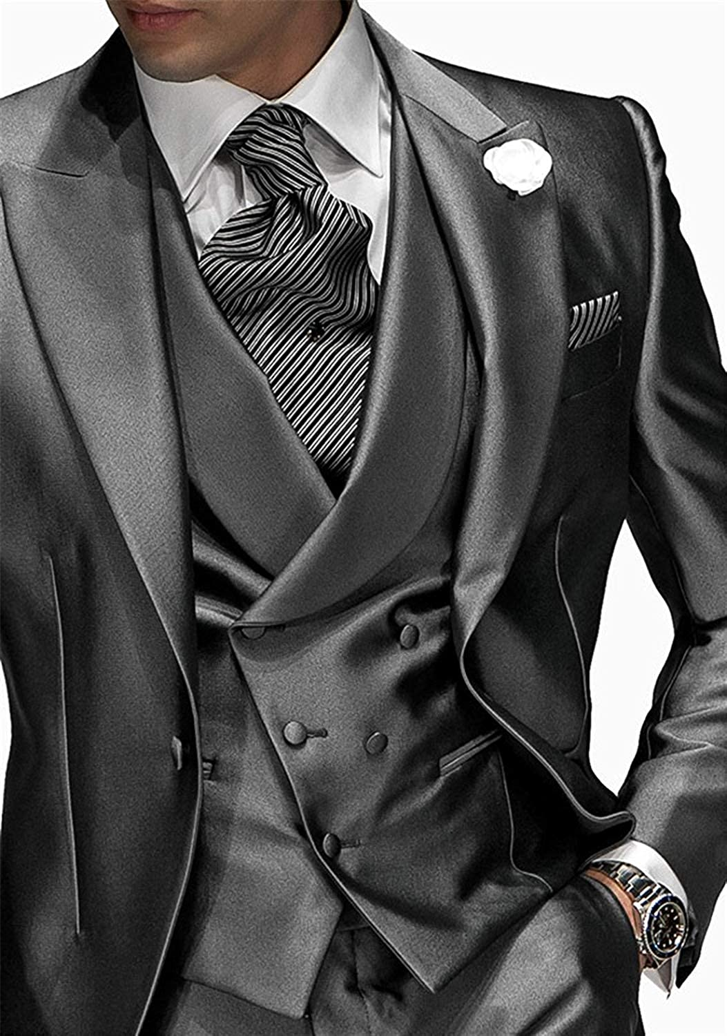 Fenghuavip Mens Modern Silver Gray 3 Pieces Tuxedo Suits for Grooms