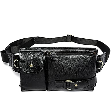 2bc794cf73 Genuine Leather Waist Packs Fanny Pack Belt Bag Phone Pouch Bags Travel Waist  Pack Male Small