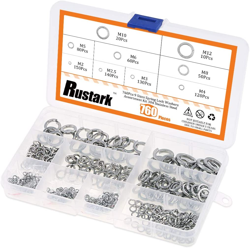 Rustark 550-Pcs M2 M2.5 M3 M4 M5 M6 M8 M10 M12 9 Sizes Black Zinc Plated Alloy Steel Flat Washers Set Hardware Assortment Kit