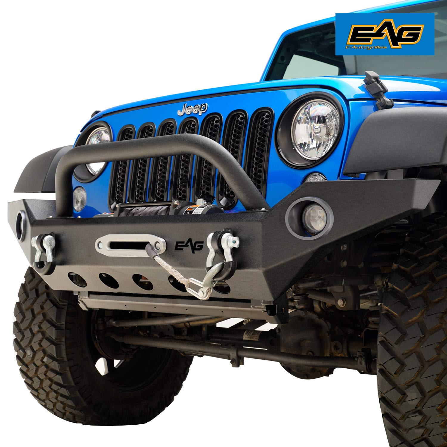 EAG Front Bumper with LED Lights & Winch Plate