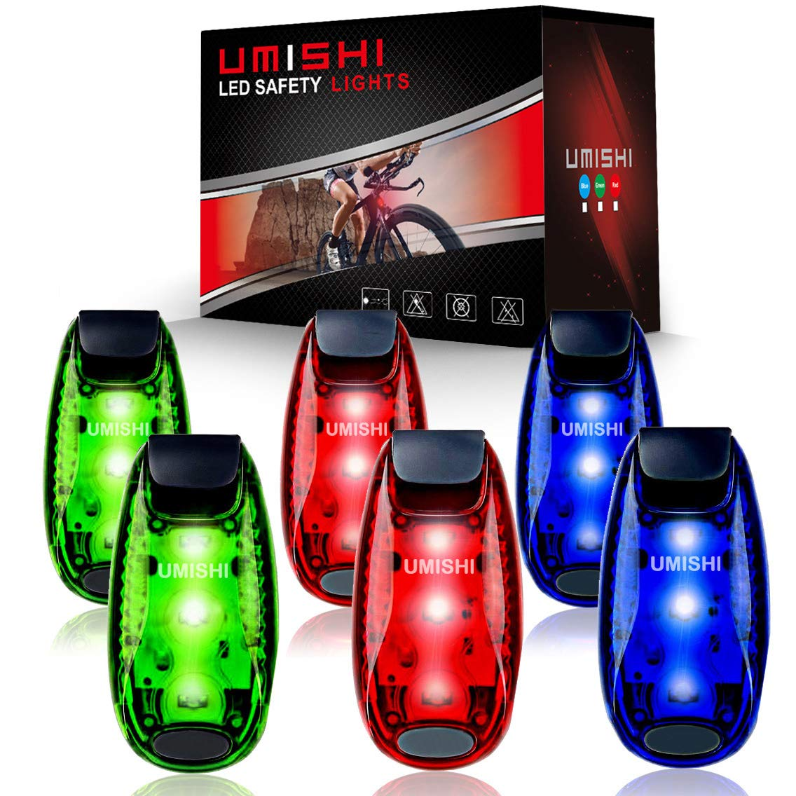 6-Pack LED Safety Light Strobe lights for Daytime Running Walking Bicycle Bike Kids Child Woman Dog Pet Runner Best Flashing Warning Clip on Small Reflective Set Flash Walk Night High Visibility by UMISHI