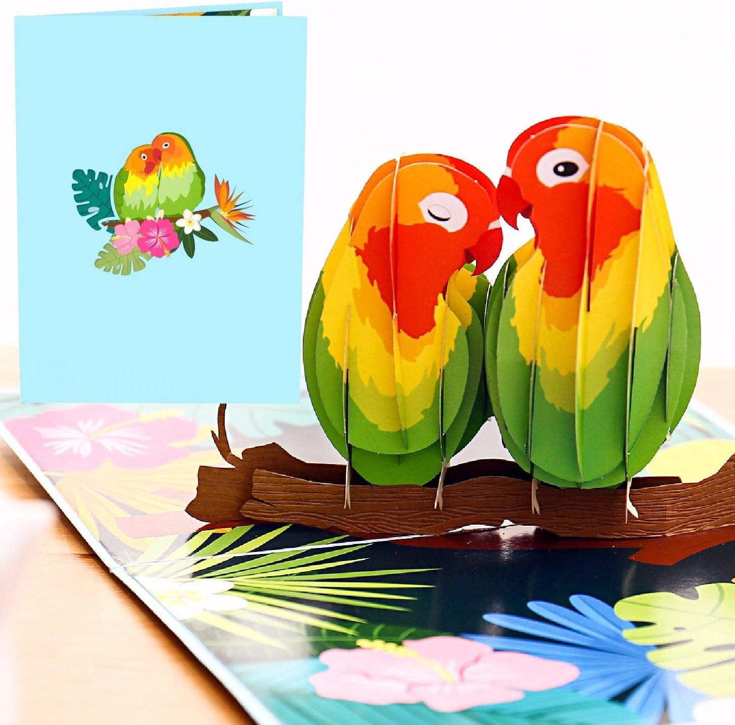 Details about  /Origami Pop Cards Lovebird Couple Fairy-Wren 3D Pop 3D Pop Up Greeting Card