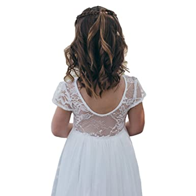 633bd1a005c A LITTLE LACEY Juliette Lace Flower Girl Tulle Dress Cap Sleeve ...