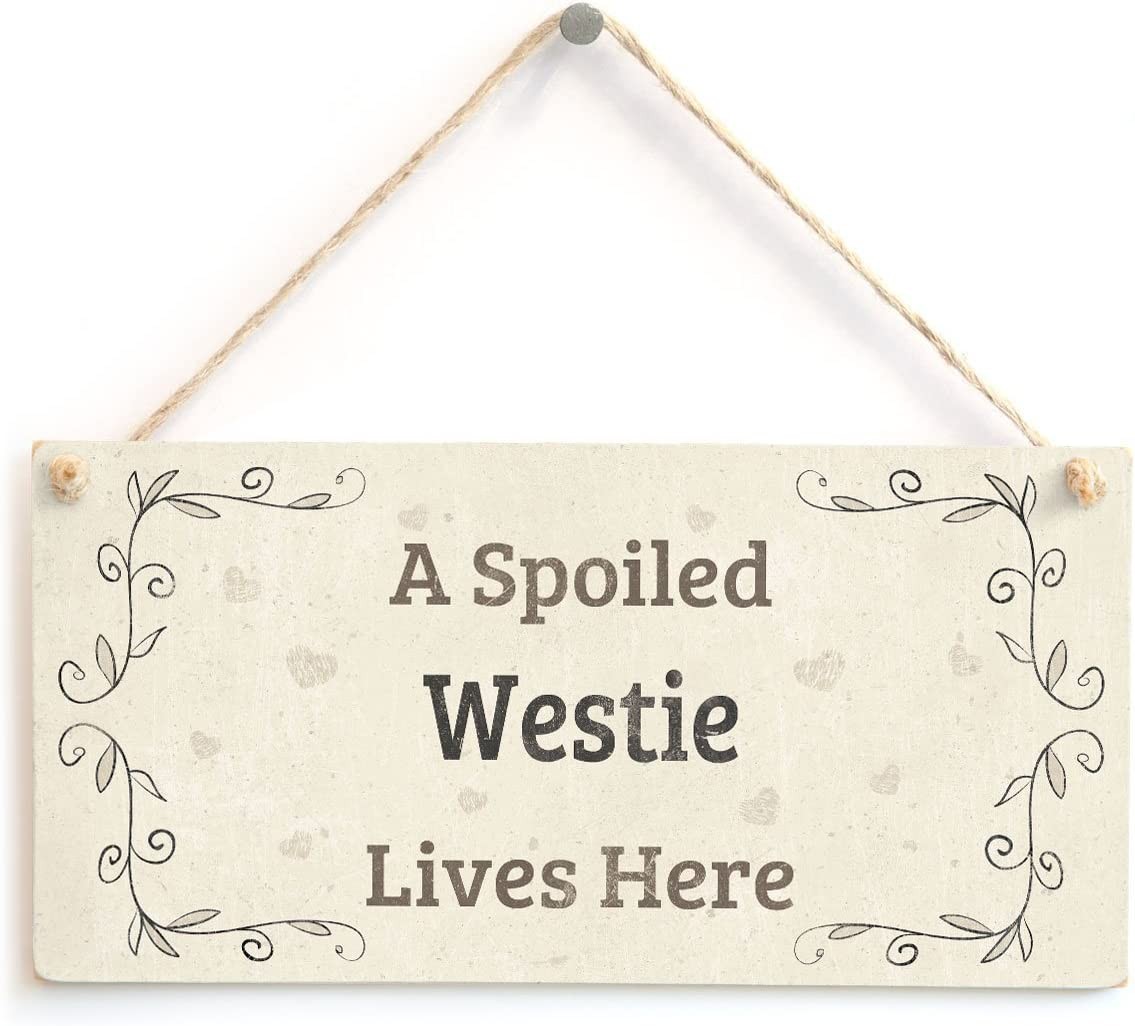 """Meijiafei A Spoiled Westie Lives Here - Lovely Country Home Style Home Decor Accessory Gift Sign for Dog Lovers 10""""x5"""""""
