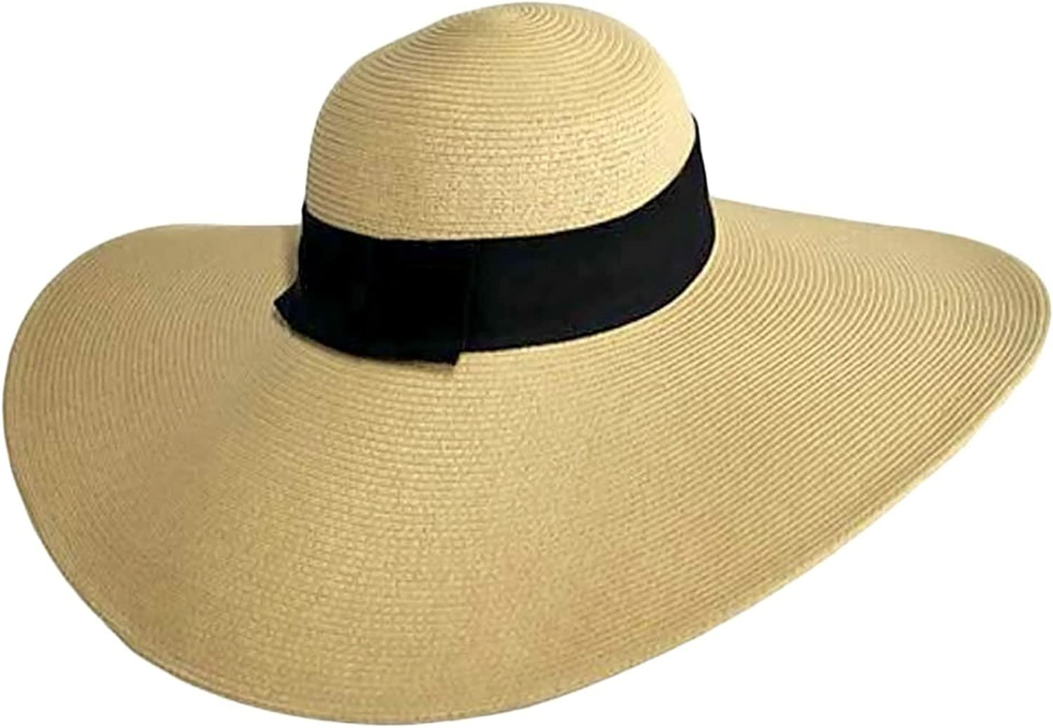 Luxury Divas Tan Wide Brimmed Floppy Hat with Black Ribbon Hat Band
