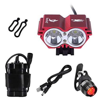 3x Cree XML U2 LED Front Bicycle Bike Lights Headlight Headlamp Rechargeable Red