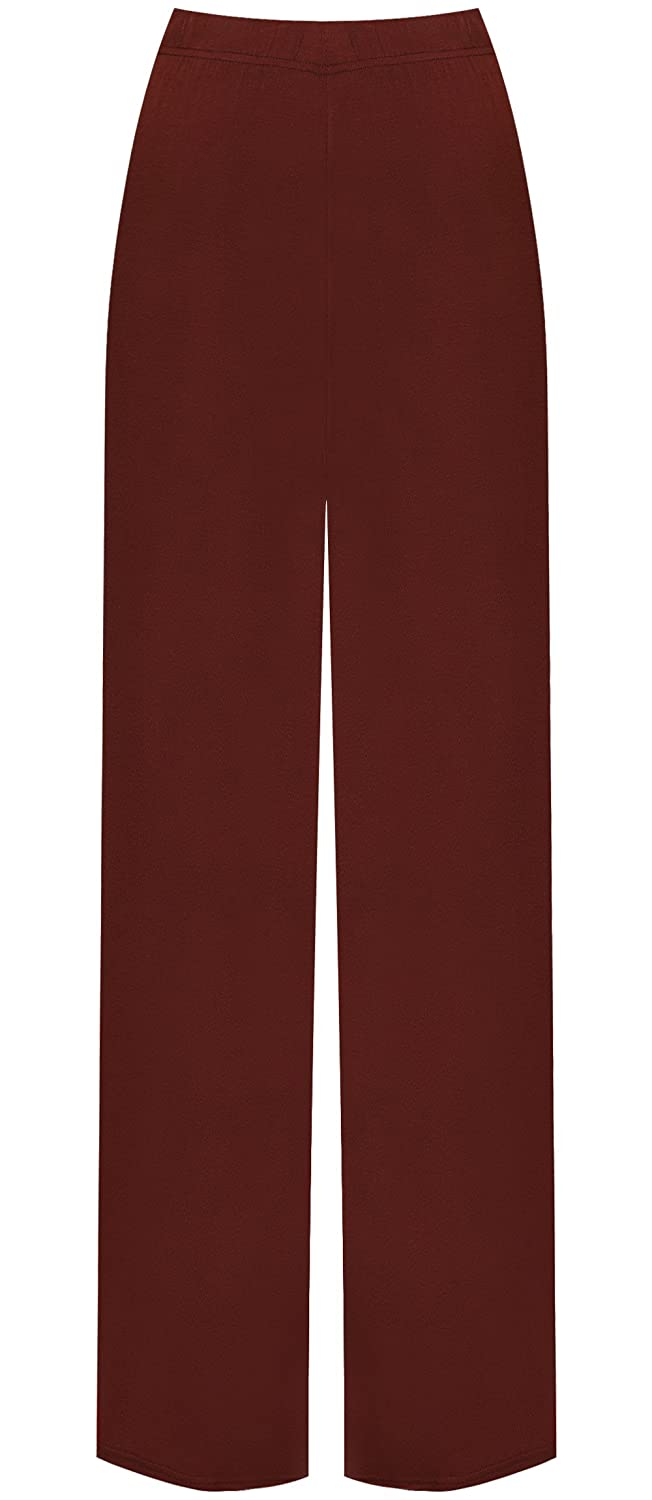 WearAll Womens Palazzo Wide Leg Flared Elasticated Stretch Plus Plain Trousers 20599