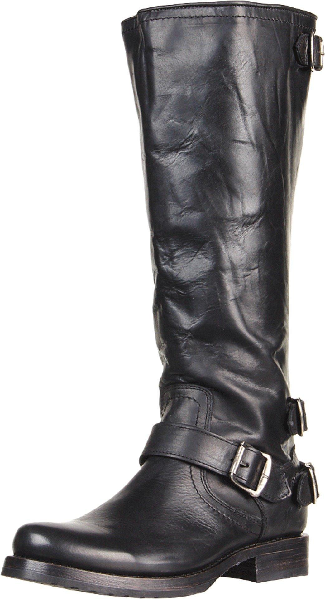 FRYE Women's Veronica Back-Zip Boot, Black Soft Vintage Leather, 7 M US