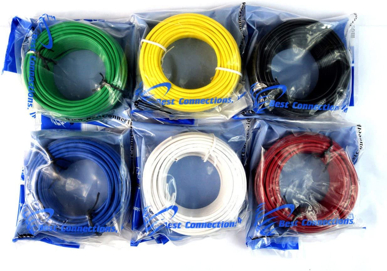 14 Gauge 50'FT Remote Wire Copper Clad Single Conductor 6 Primary Colors 71x4pitamTL