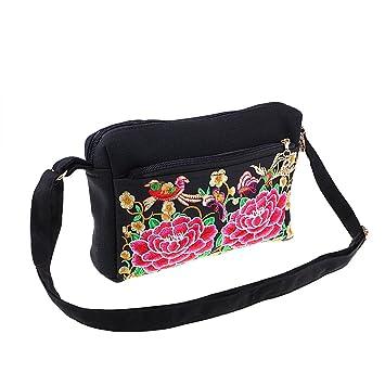 Sharplace Bolsas Bordado Bolsos de Hombros para Mujeres Carteras Flores Hecho a Mano Doble Cara - Rosa: Amazon.es: Hogar