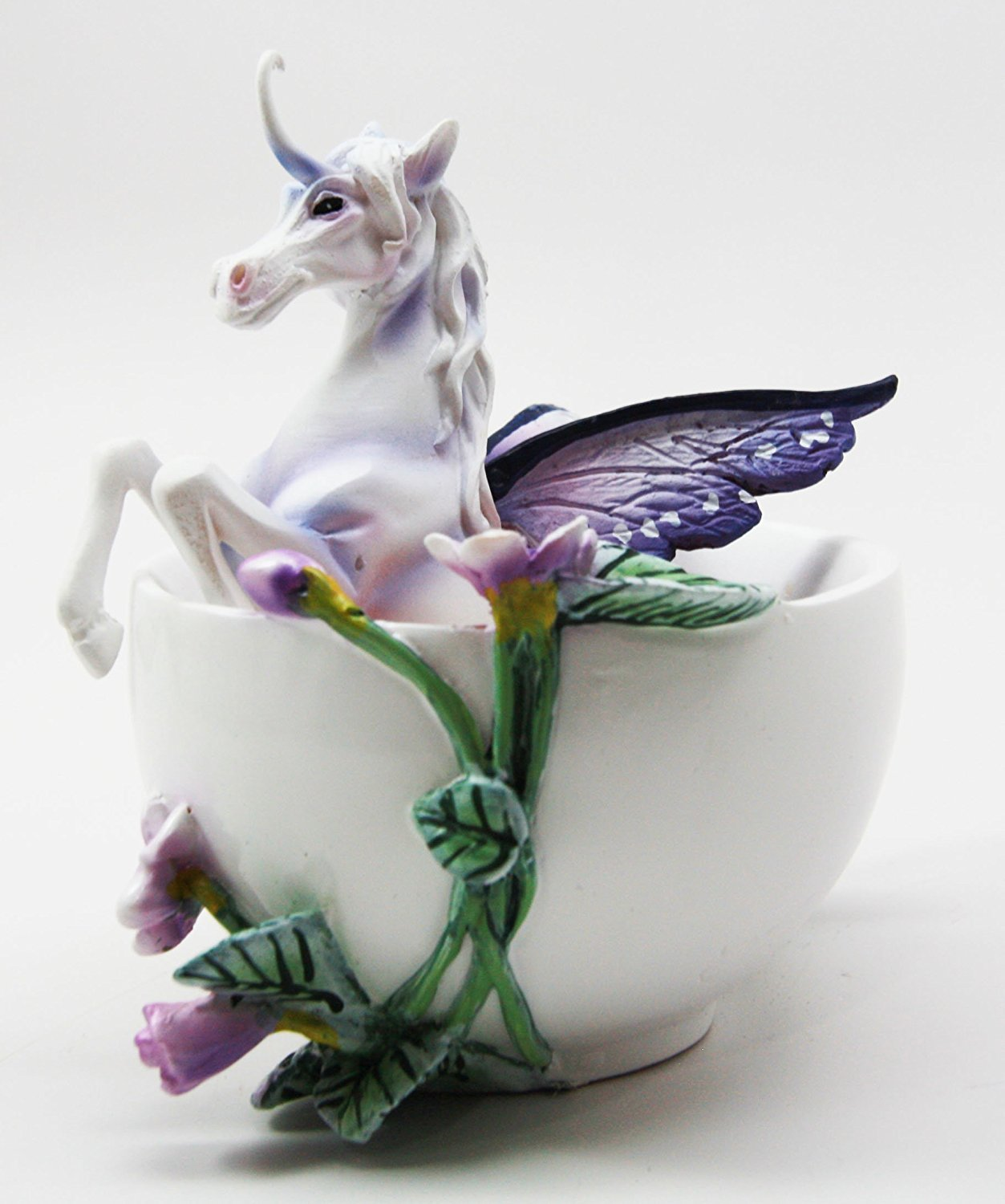 Ebros Amy Brown Fantasy Tea Cup Purple Iris Unicorn Figurine Mystical Creature Decor Statue