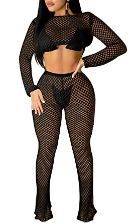 c6e745c9d4 Women's Sexy Bodycon 2 Piece Outfits Knitted Hollow Out Long Sleeve Crop  Top See Though Flare