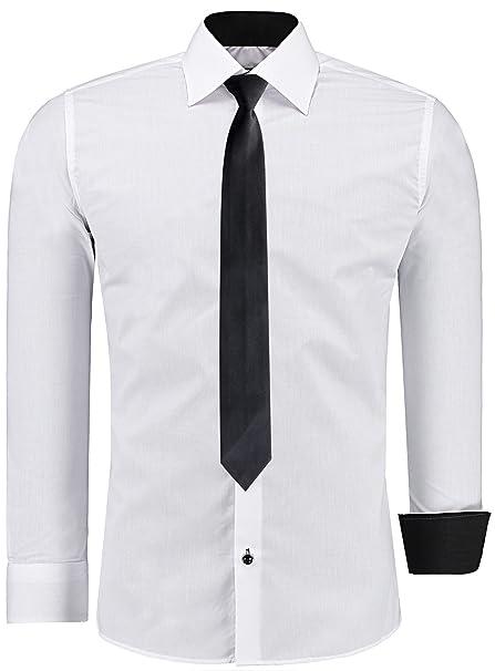 Jeel - Camisa Informal de Vestir para Hombre, Manga Larga, para Negocios, Bodas, Ajustada, Tallas S-6XL + Corbata Negra