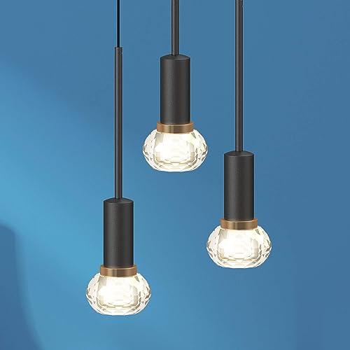 Hideno Crystal Pendant Lighting 3-Light LED 16W,Kitchen Island Lighting,Crystal Hanging Light Fixture