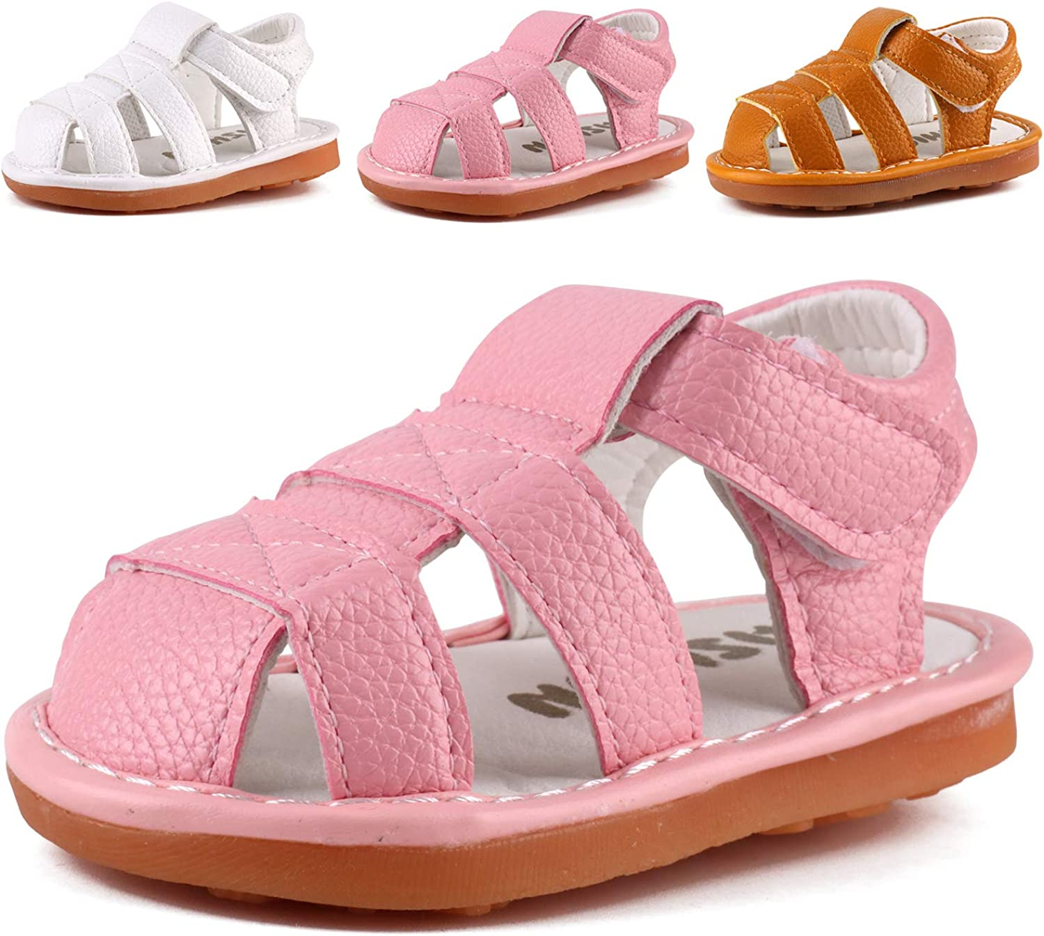 Toddler Boys & Girls Squeaky Sandals Closed-Toe Anti-Slip Rubber Sole First Walkers Shoes