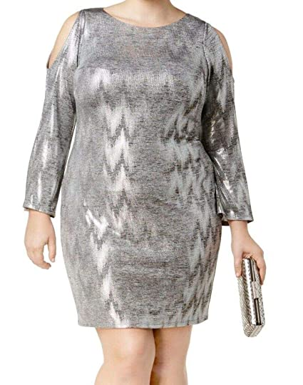 c119ae079c20 Jessica Howard Womens Plus Metallic Cold Shoulder Cocktail Dress at Amazon Women's  Clothing store: