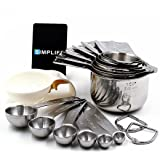 Measuring Cups and Spoons Set of 16, Durable and Stackable Stainless Steel 7 Measuring Cups and 6 Measuring Spoons with 2 Rings. Free Egg Separator.