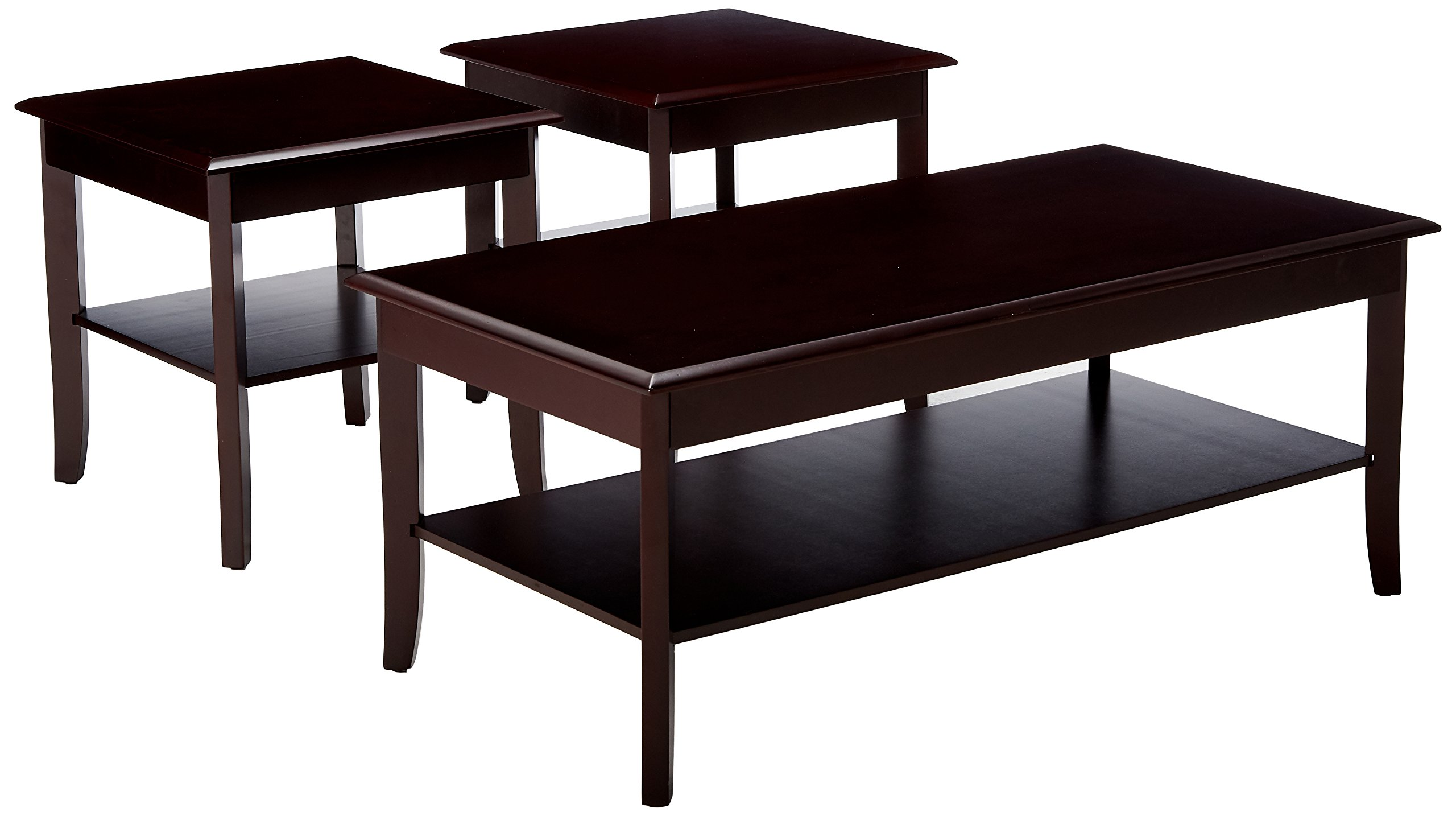 Kings Brand Furniture 3 Piece Wood Occasional Coffee Table & 2 End Tables Set, Cherry
