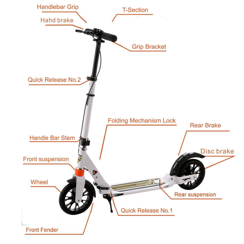 Amazon.com: Adulto kick scooter con freno de mano plegable ...