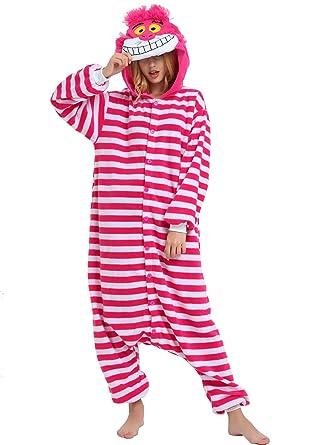 ba0e18ebc Cheshire Cat Onesie for Adults and Teens. Halloween Animal Kigurumi Pajama  Costume for Women,