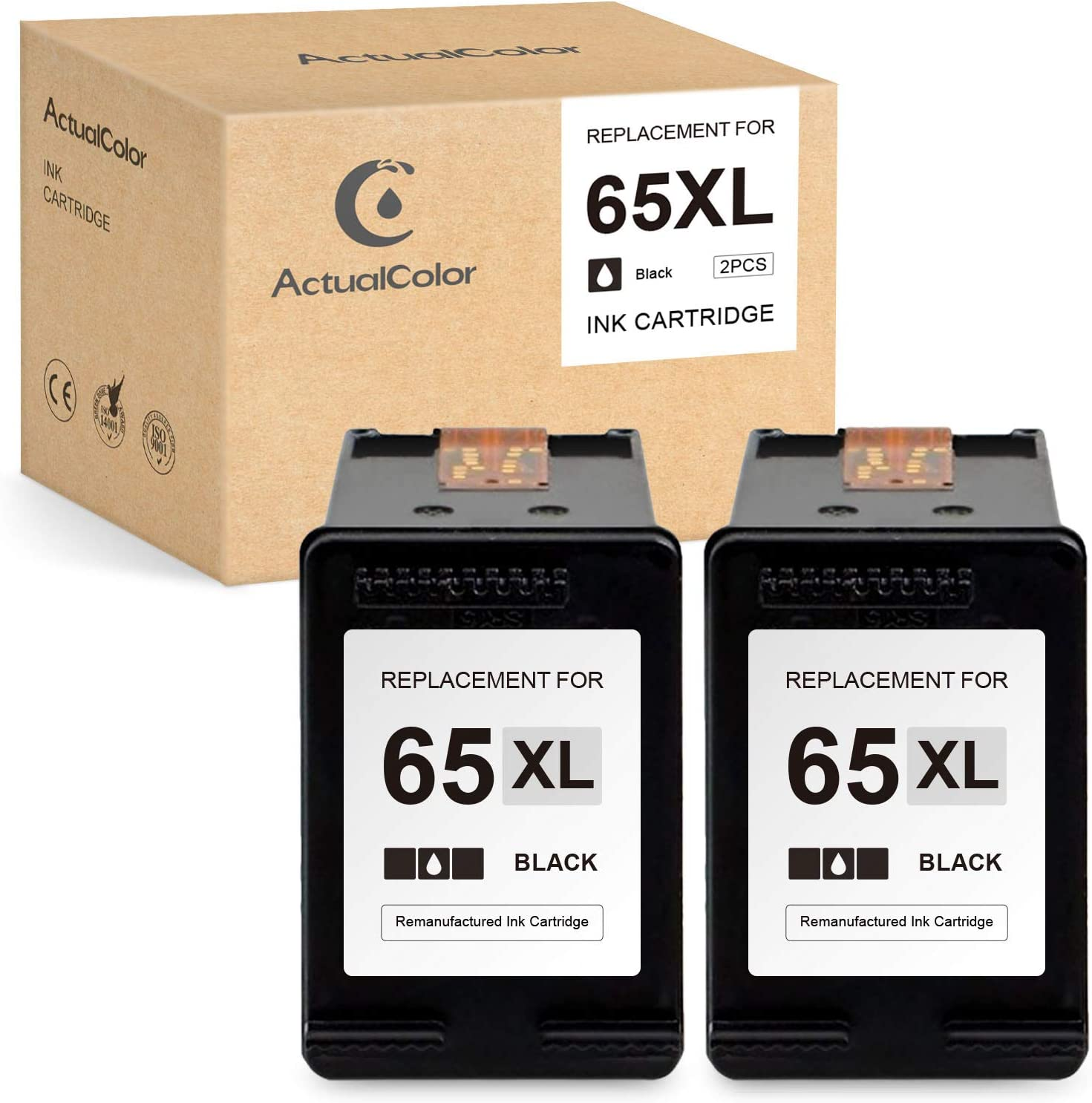 ActualColor C Remanufactured Ink Cartridge Replacement for HP 65 XL 65XL for Envy Envy 5055 5052 5010 Deskjet 3755 3752 2655 3755 2652 2622 2624 3720 3722 2630 AMP 100 120 125 130 (Black,2 Pack)