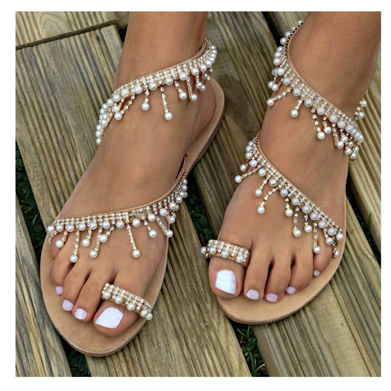 9b68043a Amazon.com: Womens Summer Bohemia Flat Sandals Beads Pearl Beach Clip Toe Flip  Flops Flat Bottom Sandals Shoes: Clothing