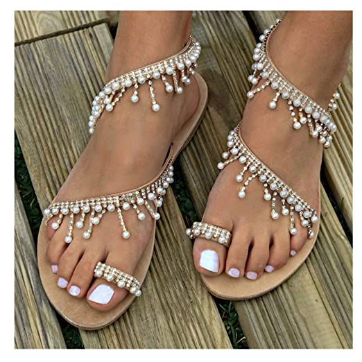 02dbe55d7 Womens Summer Bohemia Flat Sandals Beads Pearl Beach Clip Toe Flip Flops  Flat Bottom Sandals Shoes