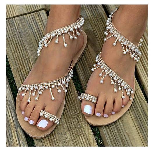 1ff87aa5b Womens Summer Bohemia Flat Sandals Beads Pearl Beach Clip Toe Flip Flops  Flat Bottom Sandals Shoes