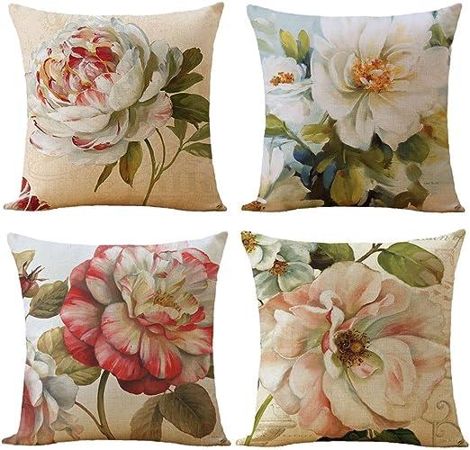Home Sofa Decor Flowers Dog Linen Cotton Fashion Throw Pillow Case Cushion Cover Home Décor Home Garden