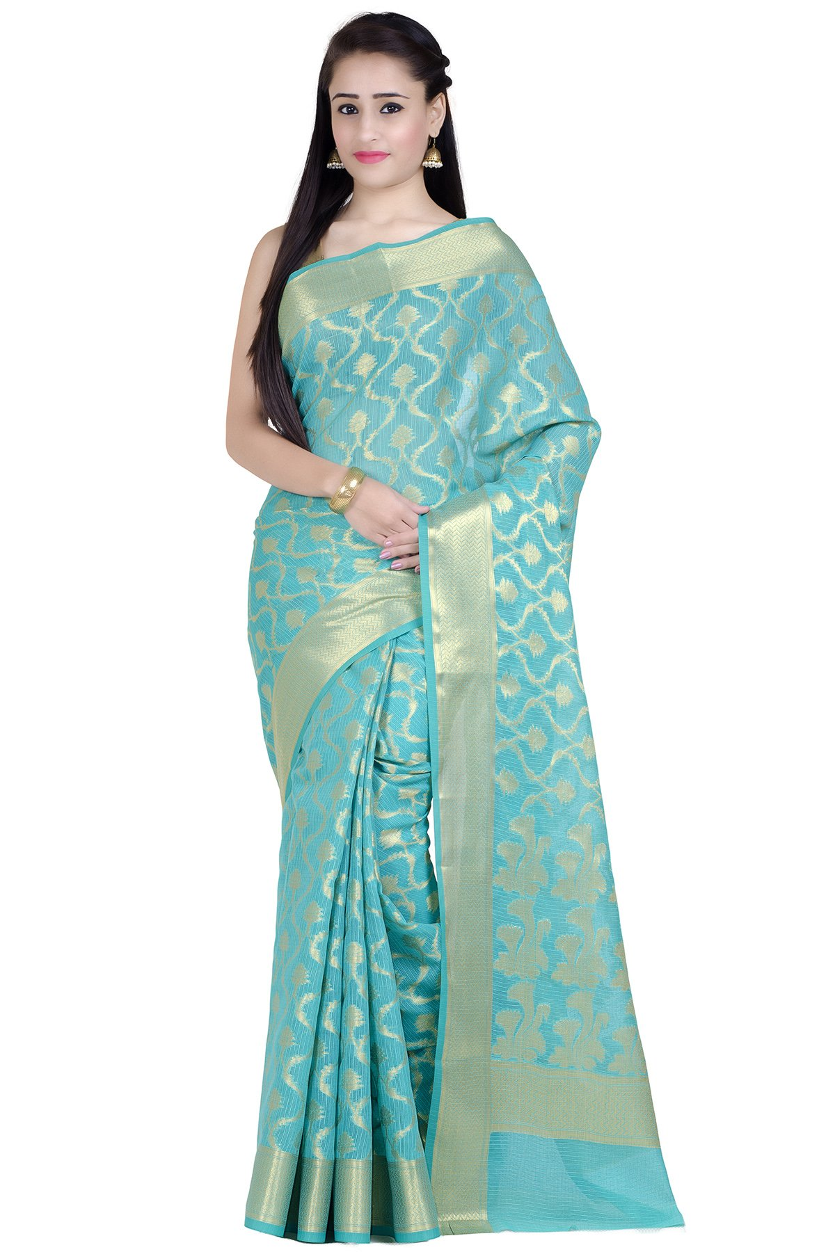 Chandrakala Women's Green Supernet Cotton Banarasi Saree(1272GRE)