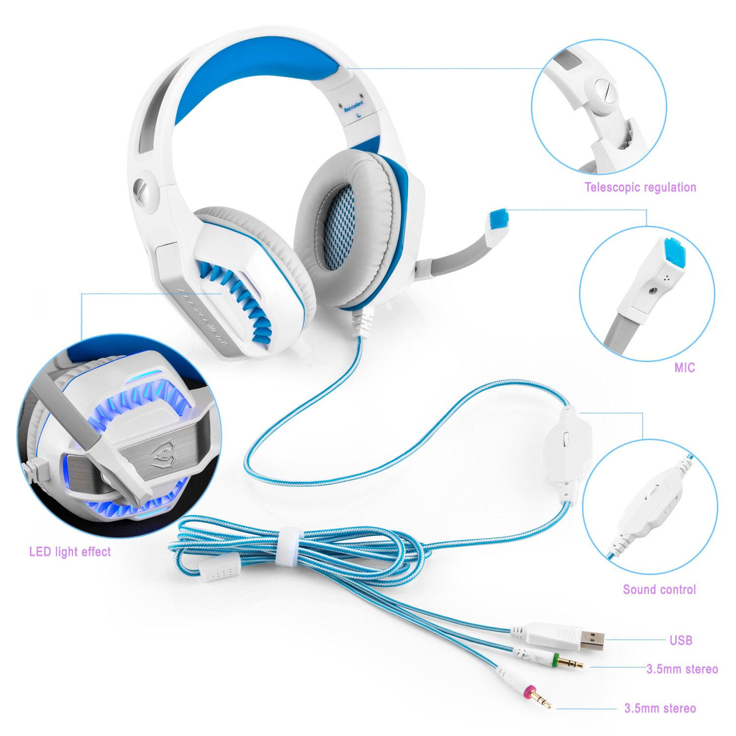 Cuffie Gaming Micolindun Microfono PC Headphone Gamer Microfono 3.5mm Basso  Stereo Volume Control LED per PC c54a7ca2e15d