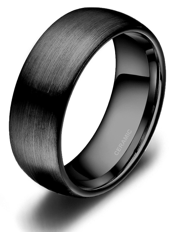 Titaniumcentral Bague Céramique Noir Finition Mat Interieur Confort Hommes Femmes Anneau de Mariage Fiançaille Alliance AFRTCJZ085B