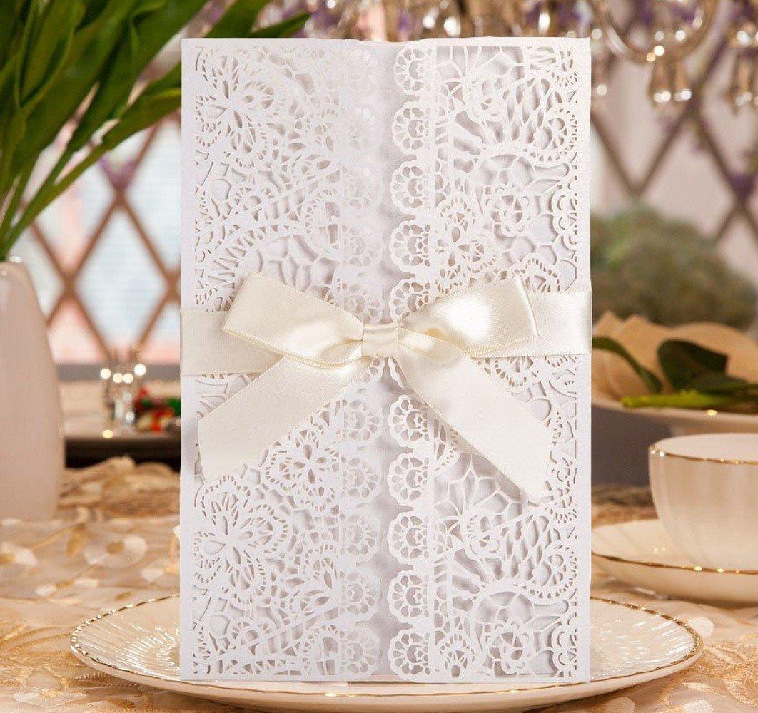 Mariage de douche Cartes d'invitation Dikete® DIY Dentelle florale vierge Invitez Modèle de fête pour anniversaire baptême de Noël Anniversaire de mariage de baptême