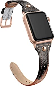 SWEES Genuine Leather Band Compatible for iWatch 38mm 40mm, Slim Thin Dressy Stylish Elegant Rivet Bands Strap Compatible for iWatch Series 5, 4, 3 Sports & Edition Women, Snake Pattern