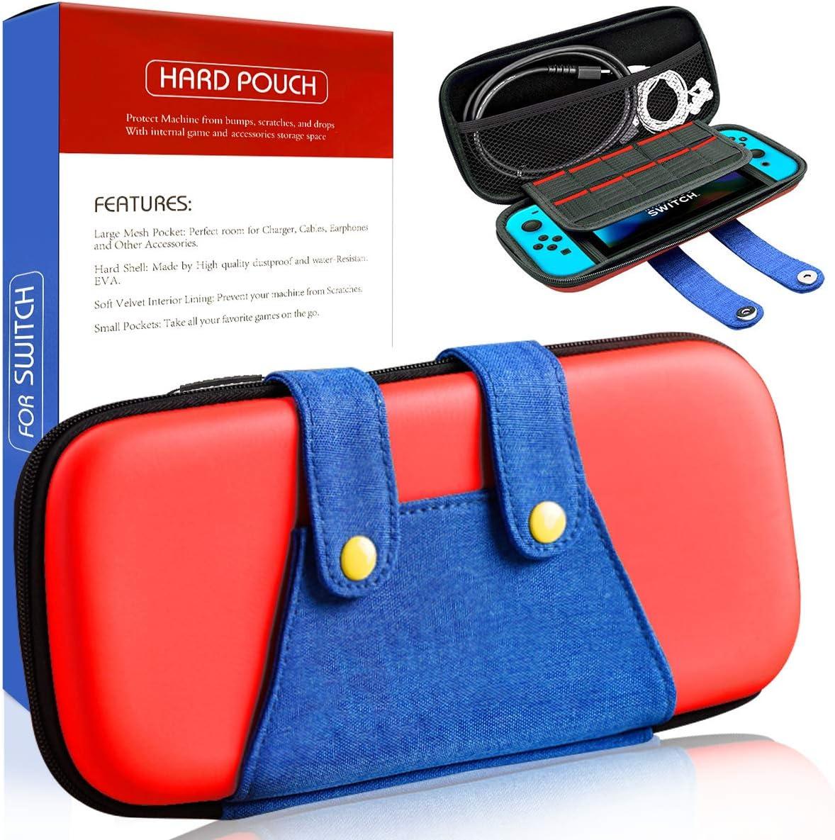 Haobuy Funda para Switch, [Color-Clash Look][Estuche Protección] Mario Funda de Viaje Portátil Transportar para Switch y Accesorios-Rojo: Amazon.es: Electrónica