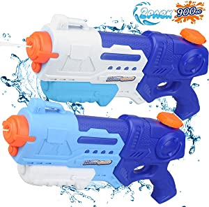 ANDRIMAX Water Gun Squirt Guns 2 Pack 900CC Water Blaster Toy Long Range Water Gun Summer Outdoor Swimming Pool Guns Beach Party Favor Shooter Fight Games Toys for Adults Kids Teens Boys Girls